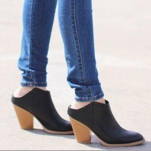 Dolce Vita Black leather mule slip on booties
